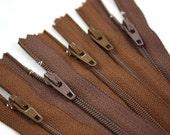 Five 7 Inch Brown Hue Zippers