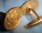 free ship, Eagle Cuff Links, mad men, Vintage, Inscribed  'INA'  and 1793 with an American Eagle,,Bright Goldtone, excellent condition
