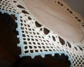 for Kathy ONLY, Beautiful Fine crochet edged doilie, 9 inch,10 point star, light cream with a lovely BLUE edge...hand made, I have more
