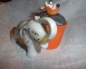 """sale,petite elephant, pin cushion, pin keeper, """"WE all Need One', tiny vessel, ring display, Lovely,'ooak' Vintage, 'trunk is up'"""
