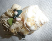 Free Ship Sweet Vintage 2 1/2 inch Shell Brooch with 'Fabric' paper Flowers, Wonderful Condition, SO UNIQUE