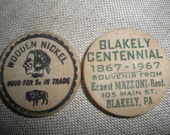 free ship two (2) wooden nickel, 'Blakely, Pennsylvania Centennial', Wooden, 1967 Souvenir, Celebration,collectible,WONDERFUL CONDITION SALE