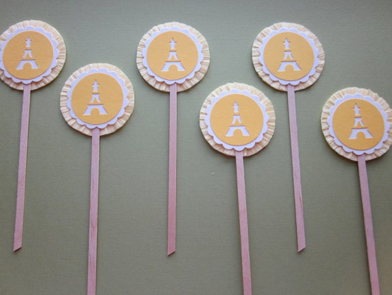 RESERVED FOR CP:  Sunny Yellow Paris Eiffel Tower Cupcake Toppers