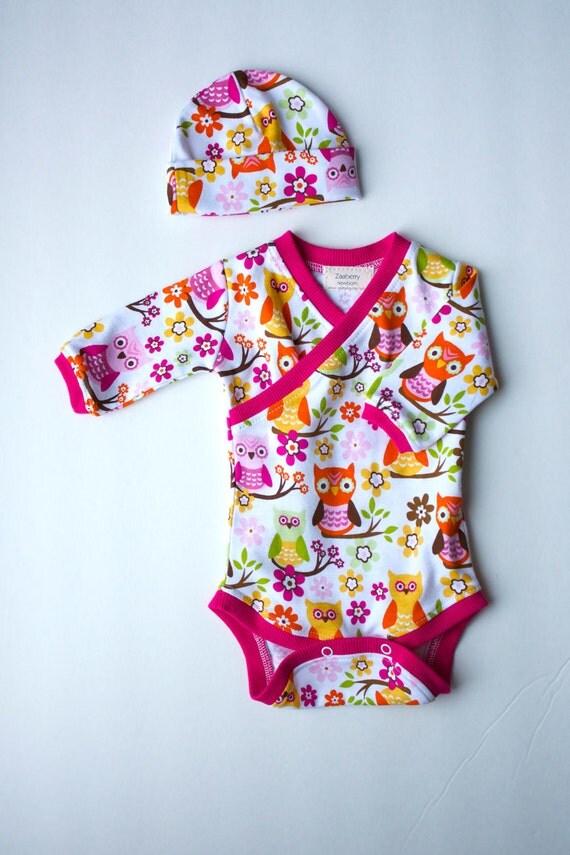 Newborn Owl Kimono-Style Onesie and Hat Set