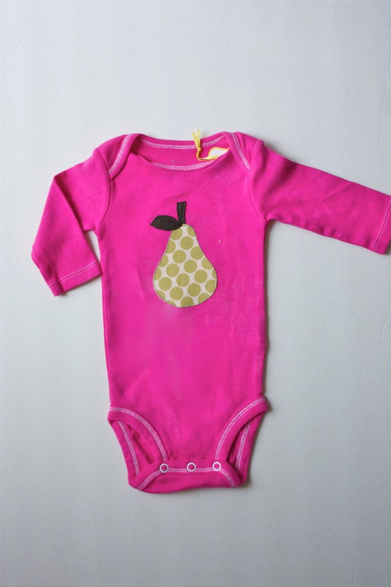 Hand Dyed Onesie with Pear Applique Size 3months