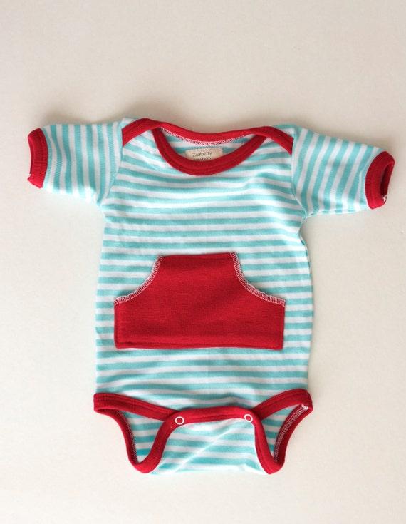 Newborn Short Sleeve Pocket Onesie