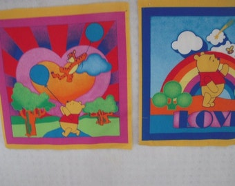 Winnie the Pooh Pillow Panel Squares - set of 2