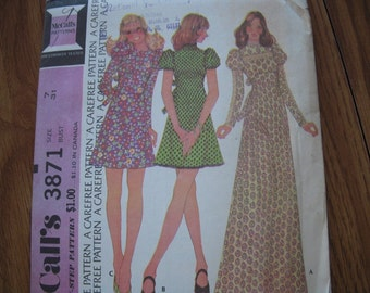 Vintage McCalls 70's Pattern 3871 Junior 7