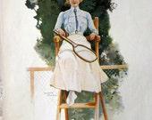 Ca. 1900 Large Colour Print of a Lawn Tennis Umpire by Ewald Thiel