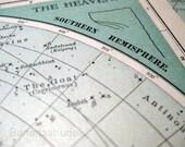 1902 Century Atlas Antique Map of The Heavens. Southern Hemisphere
