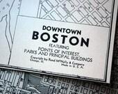 1937 Vintage City Map of Boston, Massachusetts