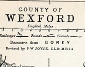 1899 Antique Map of County Wexford, Ireland - Ireland Antique Map - Wexford Antique Map - Ireland County Map