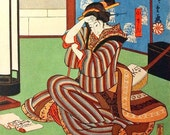 1920s Vintage Colour Engraving for your Zen Atmosphere. The Geisha and the Love Poem. Plate 7