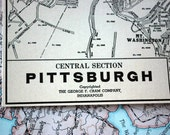 1937 Vintage Map of Pittsburgh, Pennsylvania - Vintage City Map - Old City Map