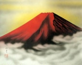 Vintage Japanese Handpainted Silk Scroll. Bright Red Mount Fuji. Ready to hang