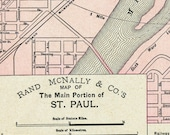 1895 Vintage Map of St. Paul, Minnesota, Main Portion - Vintage City Map - Old City map