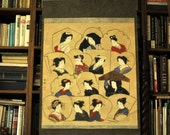 1850s to 1890s Antique Japanese Handpainted Scroll of 14 Beautiful Japanese Women / Ready to hang
