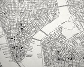 Vintage Map of Lower Manhattan, New York City. 1942 Black-and-White City Map with Retro Lettering