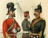 Antique Print of Medical Corps - 1895 Chromolithograph of Men in Uniform - Battlefield Medicine