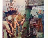 1915-1916 Antique Chromolithograph. All Hands to the Pump