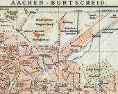 1894 German Vintage Map of Aachen-Burtscheid, Germany - Vintage City Map - Old City Map