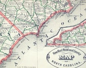 1883 Antique Railroad and County Map of North and South Carolina