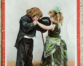Early 1900s Sweet and Romantic Valentine Postcard of a Little Boy and His Girl