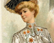 1900 Antique Gorgeous Chromolithograph of White Summer Fashion for Women with Impossibly Small Waists. From The Delineator.