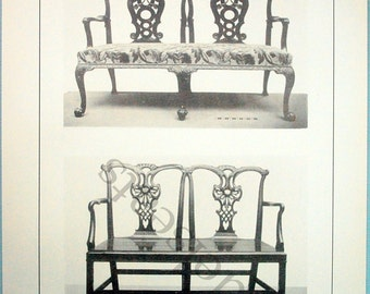 1900 Antique Black and White Illustration of English Household Furniture. Settee, Chippendale Style. Plate 54