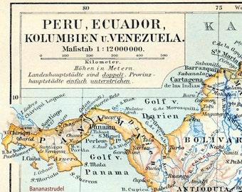1895 German Antique Map Peru, Ecuador, Colombia, and Venezuela