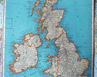 1937 Antique Map of the British Isles or Great Britain