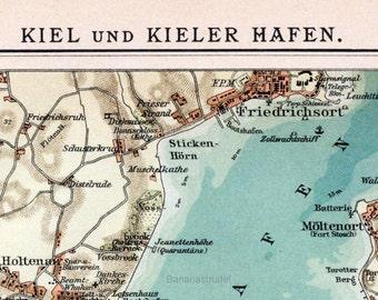 1898 German Vintage Map of Kiel and Kiel Harbour - Vintage City Map - Old City Map