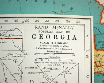 1937 Vintage Map of Georgia - Georgia Vintage Map - Vintage Georgia Map