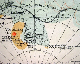 1895 German Antique Map of the South Pole
