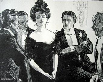 Gibson Girl - Hostile Criticism - Humorous 1906 Antique Charles Dana Gibson Print