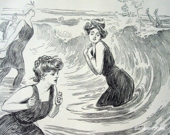 Gibson Girl - Plenty of Fish in the Sea - Humorous 1906 Antique Charles Dana Gibson Print