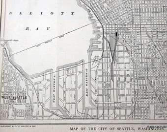 1922 Vintage Map of  Seattle, Washington - Old Street Map of Seattle - Vintage City Map - Old City Map