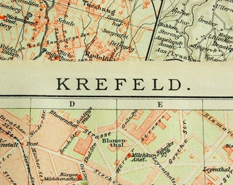 1902 Vintage Map of Krefeld, Germany - Vintage City Map - Old City Map