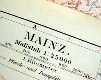 1895 Vintage Map of Mainz, Germany - Vintage City Map - Old City Map