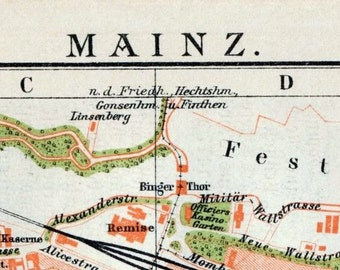 1894 Vintage Map of Mainz, Germany - Vintage City Map - Old City Map