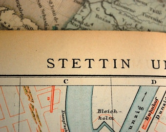 1897 Historical Original Vintage Map of Szczecin or Stettin, Poland and Environs - Vintage City Map - Old City Map