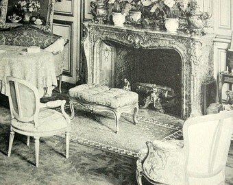 Antique Print of Old Paris Building Interiors - Plate 3 - 1912 Vintage French Print