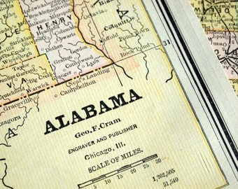 1888 Antique Map of Alabama - Alabama Antique Map