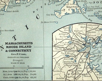 1884 Vintage Map of Massachusetts, Rhode Island, and Connecticut - Antique Massachussetts Map - Antique Connecticut Map
