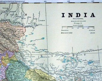 1888 Antique Map of India - India Antique Map - Double Page Map - Antique India Map