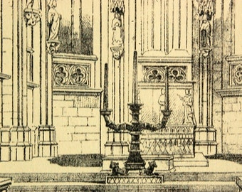 1872 English Large Antique Print of Gothic Architectural Details of the Interior of the Choir, Church in Halberstadt, Germany. Plate 75