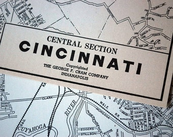1937 Vintage Map of Cincinnati, Ohio - Vintage City Map - Old City Map