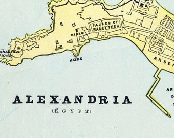 1888 Vintage Map of Alexandria, Egypt - Old Street Map of Alexandria - Vintage City Map - Old City Map