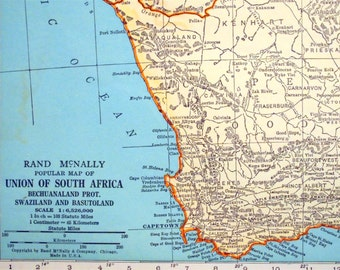1937 Vintage Map of the Union of South Africa, Bechuanaland Protectorate, Swaziland and Basutoland - South Africa Vintage Map