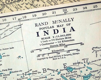 1937 Vintage Map of India - Vintage India Map - India Vintage Map